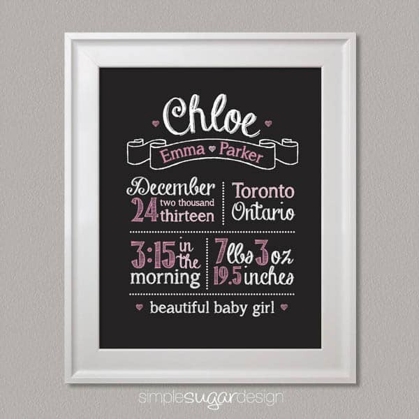 Chalkboard Birth Stats Print Simple Sugar DesignSimple Sugar Design – Black and White Birth Announcements