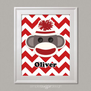 Sock Monkey Personalized Print