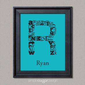 Alphabet initial art