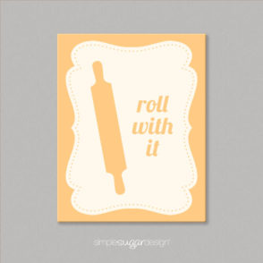 kitchen quote canvas rolling pin