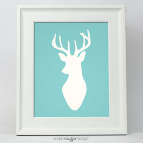 Stag Head Silhouette Looking Right Print