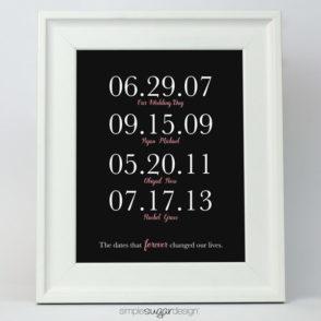 Family dates print
