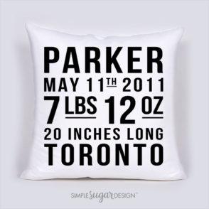 Subway Birth Announcement Pillow