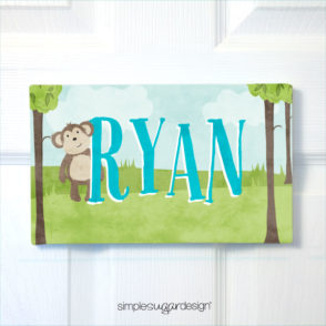 Jungle Animal Canvas Door Sign