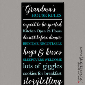 Grandparents Rules Canvas Elegant