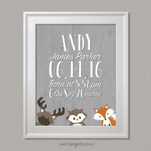 Woodland Birth Announcment