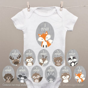 woodland monthly onesie stickers
