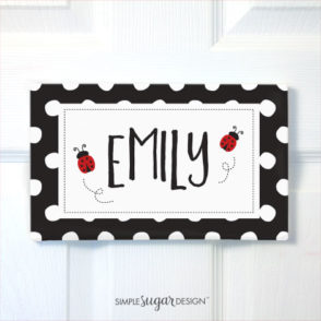 ladybug kids door sign