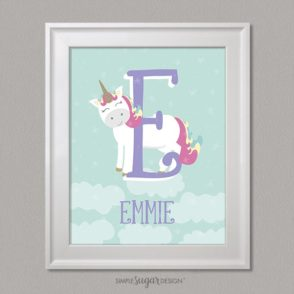 unicorn initial and name prints