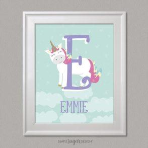 unicorn initial and name prints