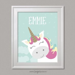 unicorn portrait with child's name
