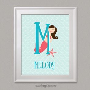 Mermaid initial customized nursery art