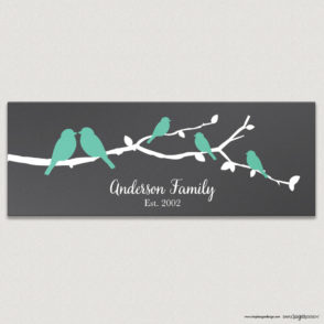 Family birds on a branch