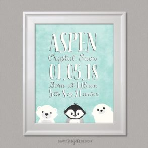arctic portrait birth announcement
