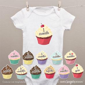 cupcake onesie stickers