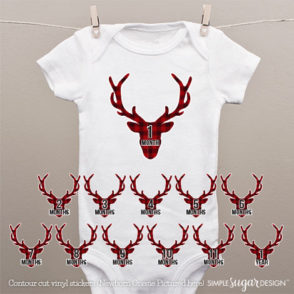 Stag head monthly onesie stickers
