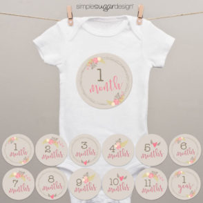 Farmhouse floral monthly onesie stickers