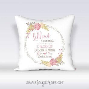 Farmhouse Floral Birth Announcement Pillow
