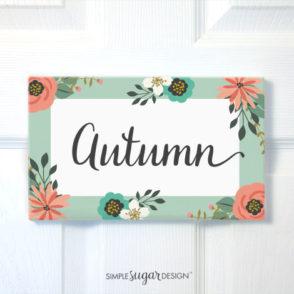 Children's floral door sign
