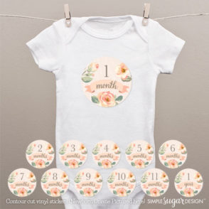 Farmhouse Floral Peach Onesie Stickers
