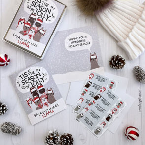 Caroling Llama Card Set