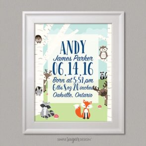 Woodland Creatures Birth Announcement