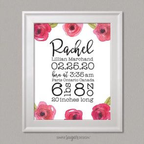 Sweet Rose Birth Announcement